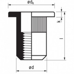 Popmoer Aluminium 22-Co M6X14 K 0,5-3 250