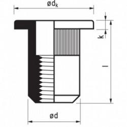 Popmoer Aluminium 22-Co M6X15,5 K 2,5-4 250