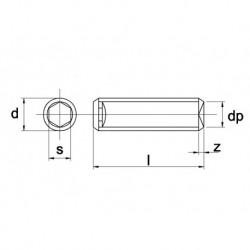 Stelschroef Din916 45H M8X16mm Zwart 200 stuks