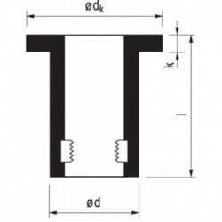 Rawlnut Rubber Plug M8X50 Bereik 15-39mm per stuk