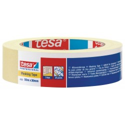 Tesa Afplaktape 4323 25mm 50M Lichtgeel