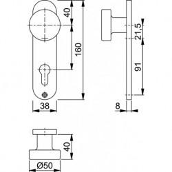 Hoppe Knopschild 58/300K 160X38 Pc72 F1
