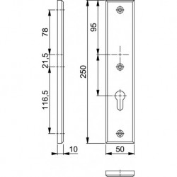 Hoppe Langschild 2214 250X50 Zkrg Pc72 F1