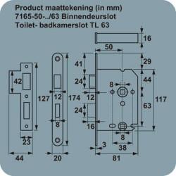 AXA WC-SLOT 7165/81U-50MM WC63X8 RVS