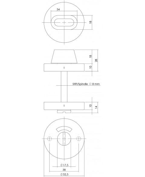 Rozet toilet-/badkamersluiting rond verdekt rvs 8mm