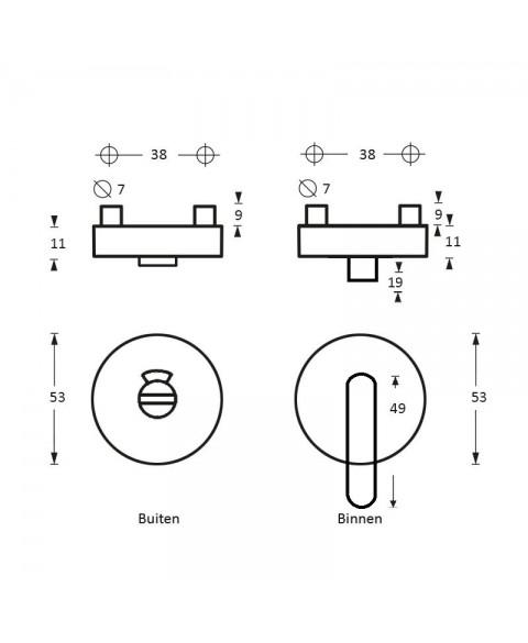 Rozet toilet-/badkamersluiting Nobile rond rvs 8mm