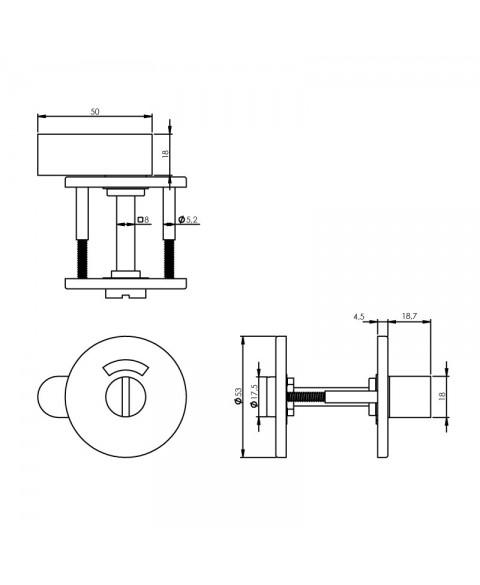 Rozet toilet-/badkamersluiting rond rvs mat zwart