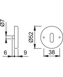 Hoppe sleutelrozet klik 24kvs 53mm f1 53mm