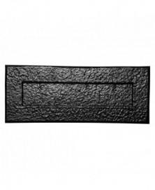 Briefplaat buitenmaat 352x127mm/ opening 275x62mm smeedijzer zwart