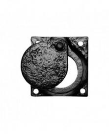 Cilinderrozet voor ronde staartcilinder met verdek 58x58mm smeedijzer zwart