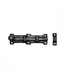 Deurschuif met knop 203x54mm smeedijzer zwart