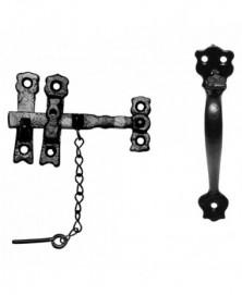 Boerenklinkstel afsluitbaar lichter 114mm/ greep t/m duim 152mm smeedijzer zwart
