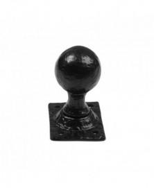Knopkruk 44mm op rechthoekig rozet 70x50mm vast smeedijzer zwart