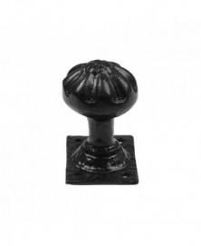Knopkruk 50mm op plaat 66x50mm vast smeedijzer zwart