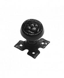 Knopkruk 53mm op rozet 60x60mm draaibaar smeedijzer zwart