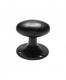 Knopkruk 63x39mm op rozet ovaal 60mm draaibaar smeedijzer zwart