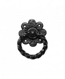 Ring 101mm op plaat 95mm inclusief krukstift smeedijzer zwart