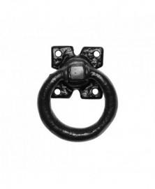 Ring 76mm op plaat 63mm inclusief krukstift smeedijzer zwart