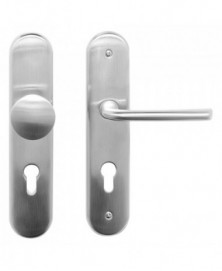Mandelli Veiligheidsgarnituur E compleet SKG*** met vaste knop/ kruk links PC72 Satinchrome