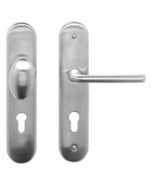 Mandelli Veiligheidsgarnituur F compleet SKG*** met vaste knop/ kruk rechts PC72 Satinchrome