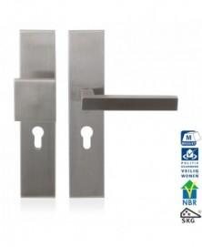 GPF Veiligheidsgarnituur SKG*** 248x52mm rechthoekig PC55 met vaste knop GPF9858.09 + deurkruk GPF1302