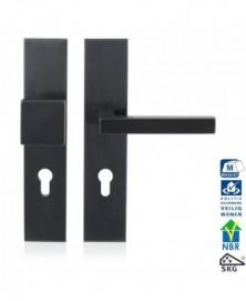GPF Veiligheidsgarnituur SKG*** 248x52mm rechthoekig PC92 met vaste knop GPF9856P1 + deurkruk GPF1302P1