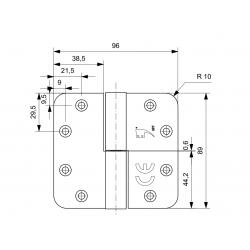 GPF Paumelle 89x96 zwart DIN Rechts ronde hoek