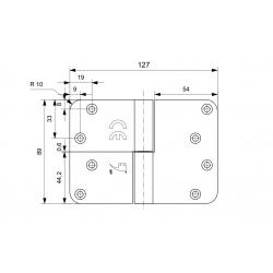 GPF paumelle 89x127 RVS DIN Links ronde hoek