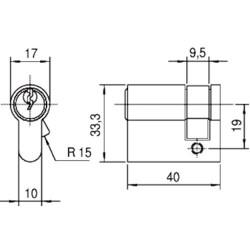 NEMEF CORBIN CILINDER 9523(T)9 ENKEL 0/30MM VE