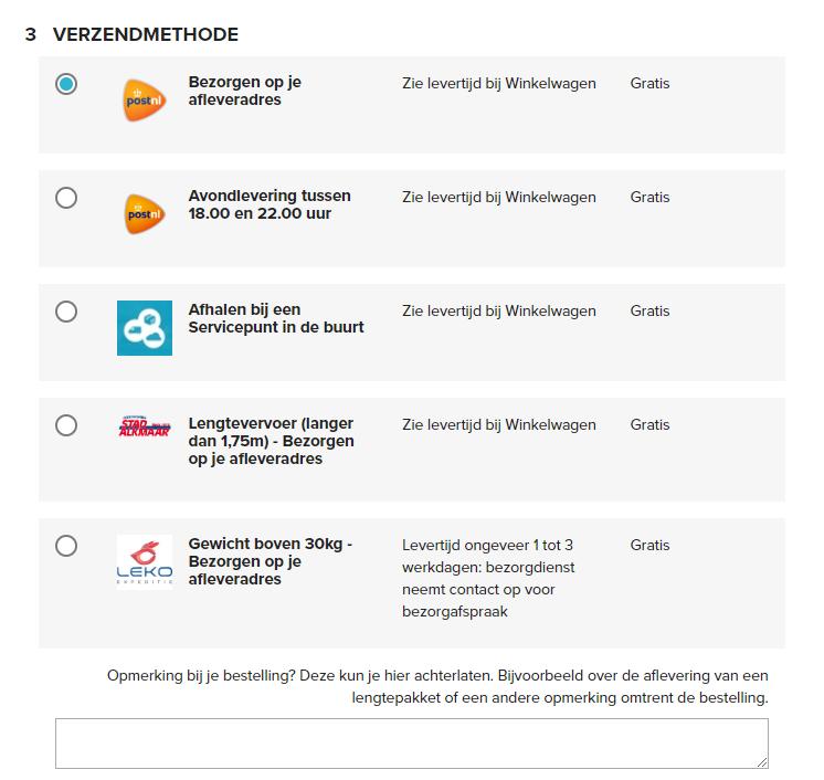Verzendmethodes mijnijzerwaren.nl